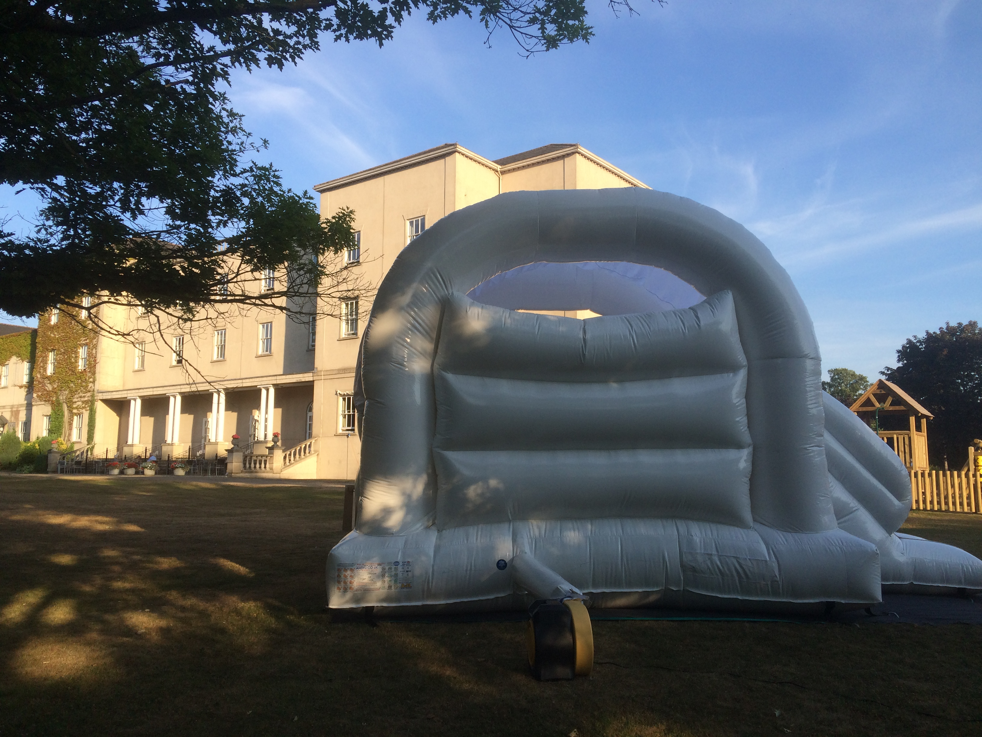 White adult castle with slide